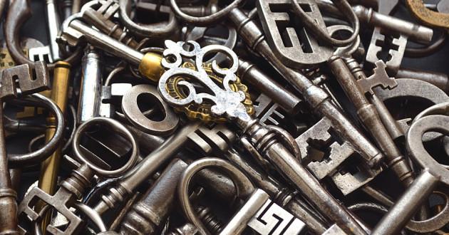 A pile of antique keys.