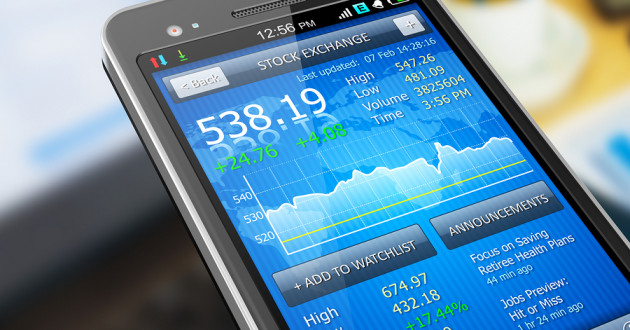 Stock market application displayed on a mobile phone.