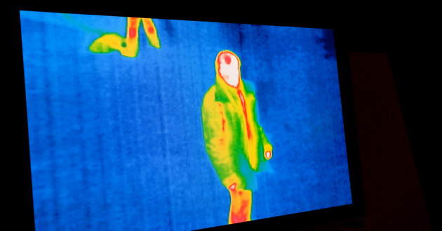 A thermal image of a person.