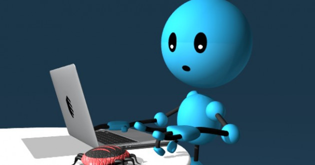 A blue stick figure prodding a bug while using a laptop.