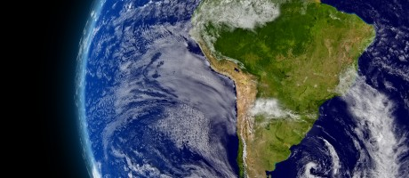 A view of South America as seen from space.
