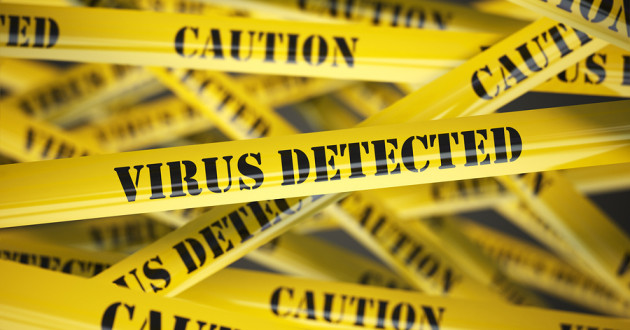"Yellow caution tape with the phrase ""Virus Detected"" front and center."
