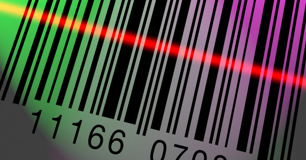 A barcode being scanned.