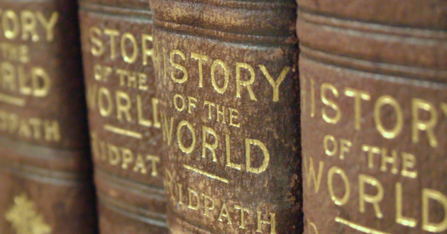 "A closeup of history book spines labeled ""Story of the World."""
