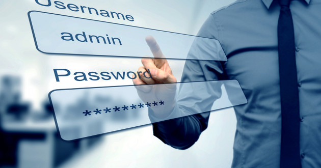 Businessman pointing to a password.