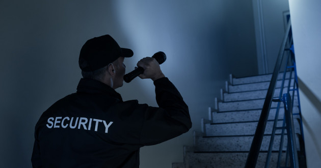 A security guard investigating a potential threat in a dark stairwell.