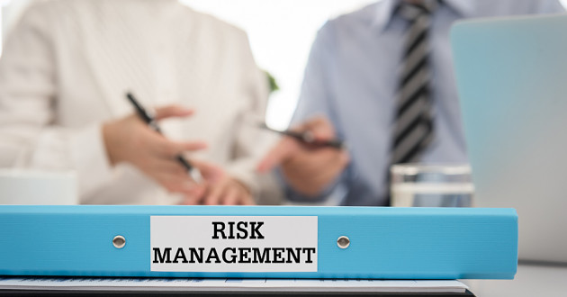 "Two business colleagues collaborating while a binder labeled ""Risk Management"" sits on a desk."