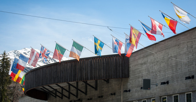 Multinational flags in Davos, Switzerland.