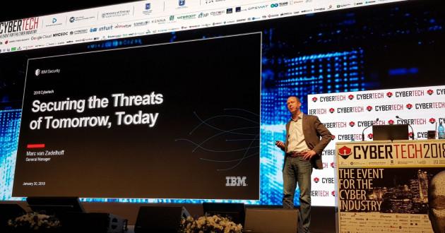 Marc van Zadelhoff delivers a keynote address at Cybertech Israel 2018.