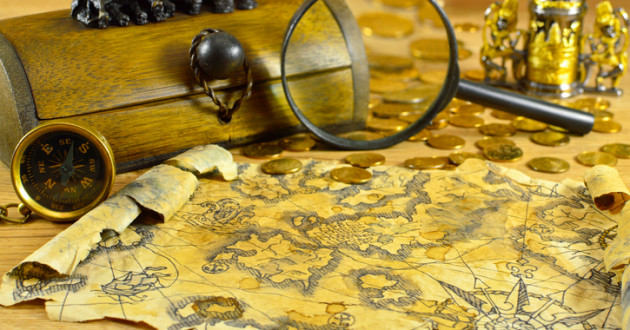 Pirate map with compass
