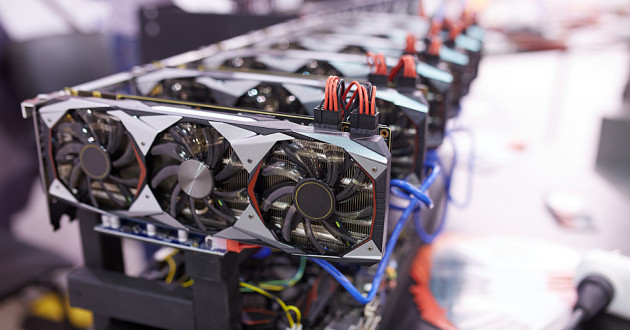 GPU cards set up to mine cryptocurrency.