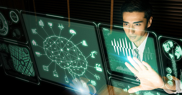 Futuristic artificial intelligence (AI) graphical user interface
