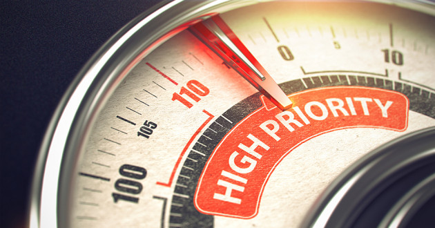"A gauge similar to a speedometer labeled ""High Priority."""
