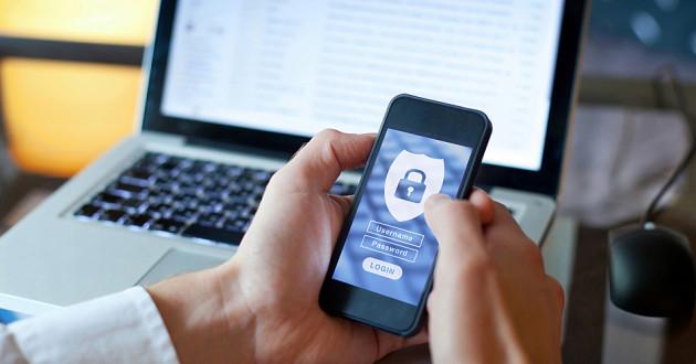 A data privacy icon on a smartphone.