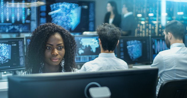 Security analysts in a security operations center.