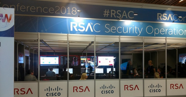 A security operations center on display at RSA 2018.