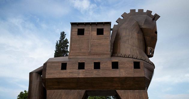 A wooden horse.