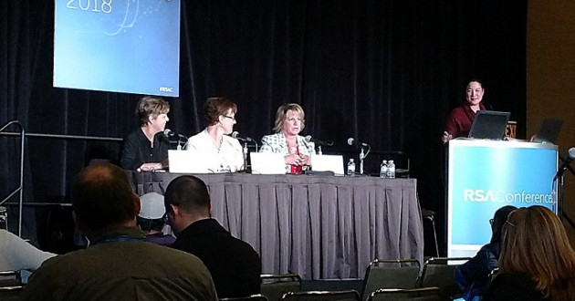 Four cybersecurity industry leaders participating in a panel discussion at the RSA Conference 2018 in San Francisco (from left to right: Robin Stuart, Suzan Nascimento, Patricia Titus and Caroline Wong).