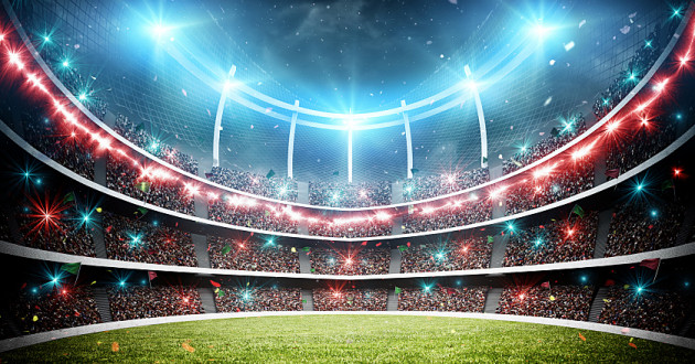A large crowd views a sporting event in a stadium: sporting event cybersecurity