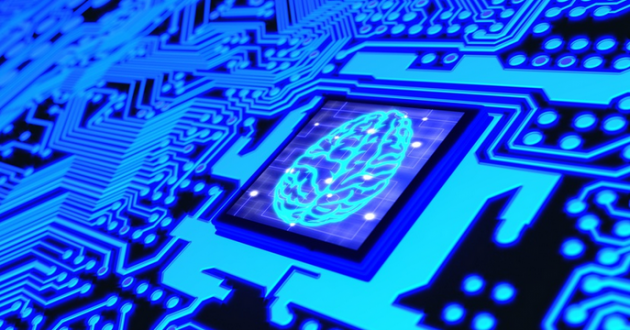 Blue glowing circuit board and a CPU with a brain symbol on top.