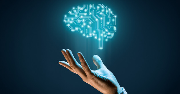 A digital image of a brain hovers above a human hand: adversarial AI