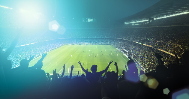 A crowd cheers in a stadium during a major sporting event: cybersecurity