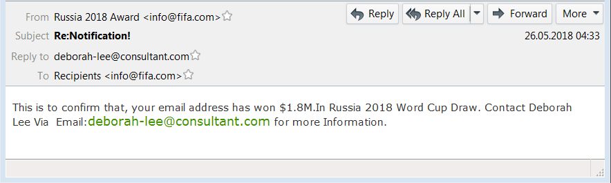 World Cup Spam Emails