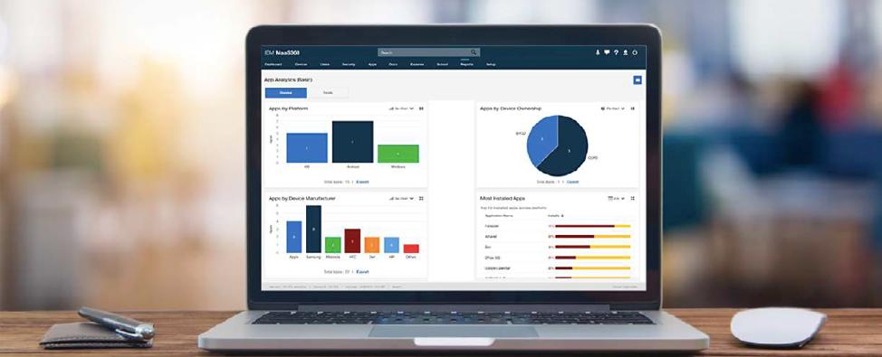 Enterprise app analytics available via the MaaS360 UEM portal.