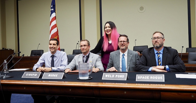 Members of L0pht Heavy Industries testifying before Congress: Space Rogue