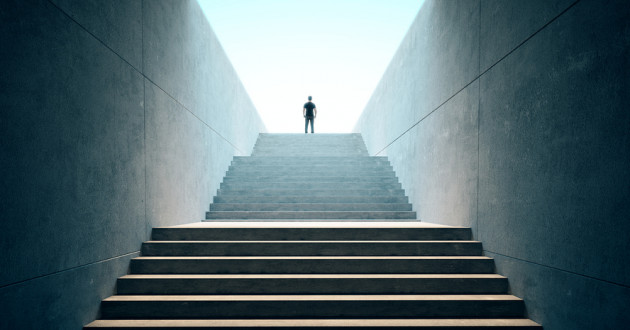 The silhouette of a man climbing up steps: vulnerability assessment