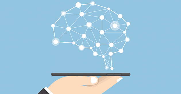 Vector illustration of a computerized brain hovering over a human hand holding a digital tablet: artificial intelligence