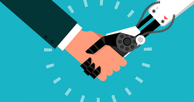 An illustration of a robotic arm and a human arm shaking hands: machine learning