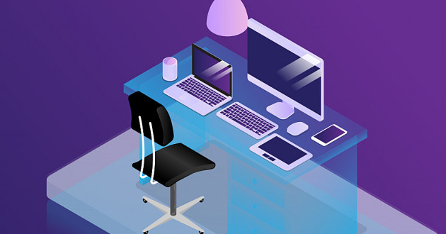A vector illustration of a modern desk with a variety of smart devices: BYOD