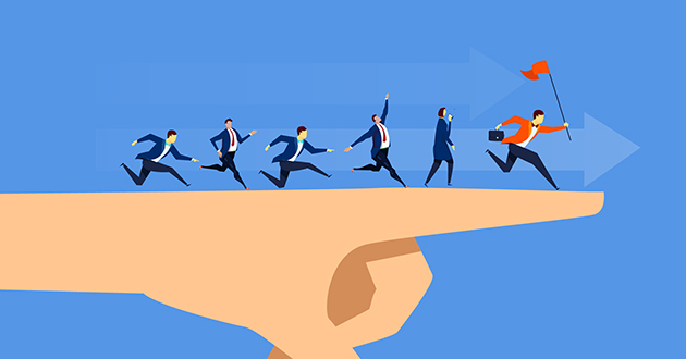Illustration of a businessperson in a red suit holding a flag while other businesspeople follow: unified endpoint management