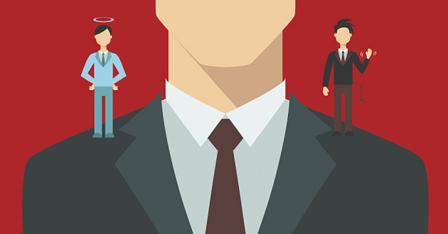 A vector illustration of a businessman with an angel and a devil on his shoulders: business ethics