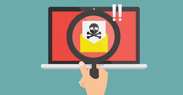 A vector illustration of a hand holding a magnifying glass over a computer screen with an envelope: new malware