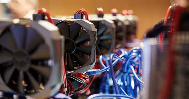 Many GPU cards on a mainboard: cryptocurrency mining