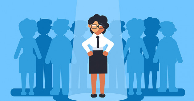 A vector illustration of a cybersecurity professional under a spotlight: women in security