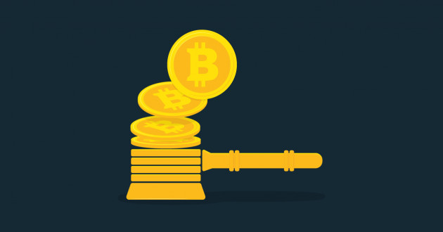 Bitcoins stacked into the shape of a judge's gavel: cryptocurrency securities