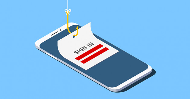 Illustration of a smartphone with a fishing hook extracting login credentials: latest malware threat