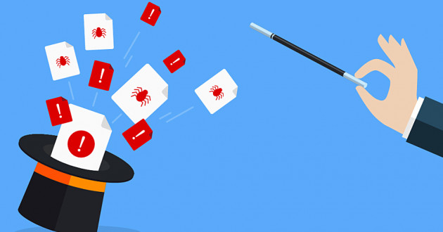 A magician's hat and a hand holding a wand: TrickBot malware
