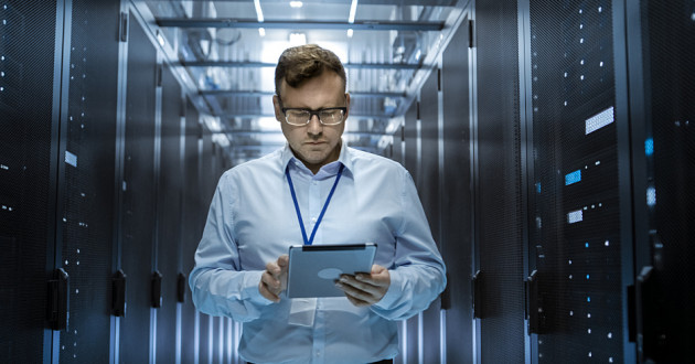 An IT administrator in a data center: privileged account management