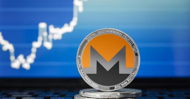 Silver Monero coin on stock market chart background: monero malware
