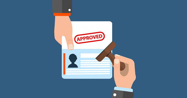 Illustration of a person approving an identity/access document: identity management and governance