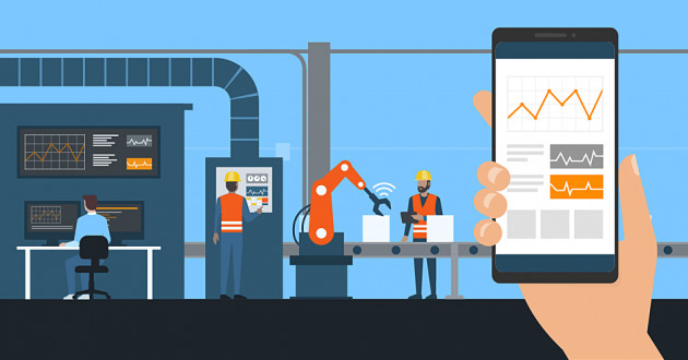 Illustration of mobile analytics on a factory assembly line: IoT device