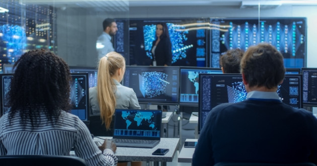 A security operations center evaluating cybersecurity future trends.