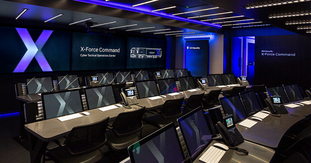 An interior view of the IBM X-Force Command Cyber Tactical Operations Center (C-TOC), a new mobile cybersecurity simulation training facility.