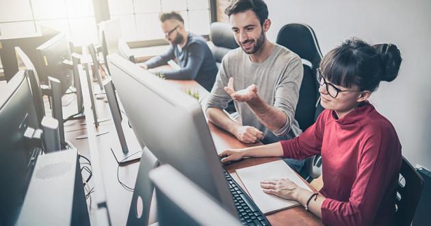 Employees working at desktop computers: separation of duties