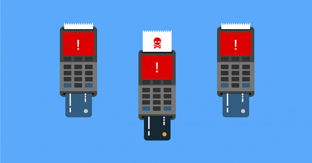 Illustration of POS terminals: financial cyberattacks